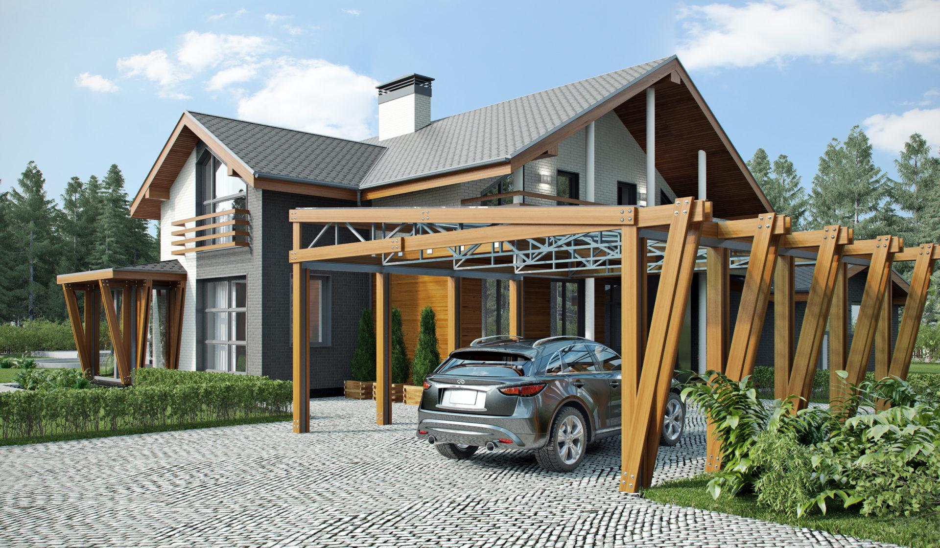 Дизайн фасада дома в современном стиле.