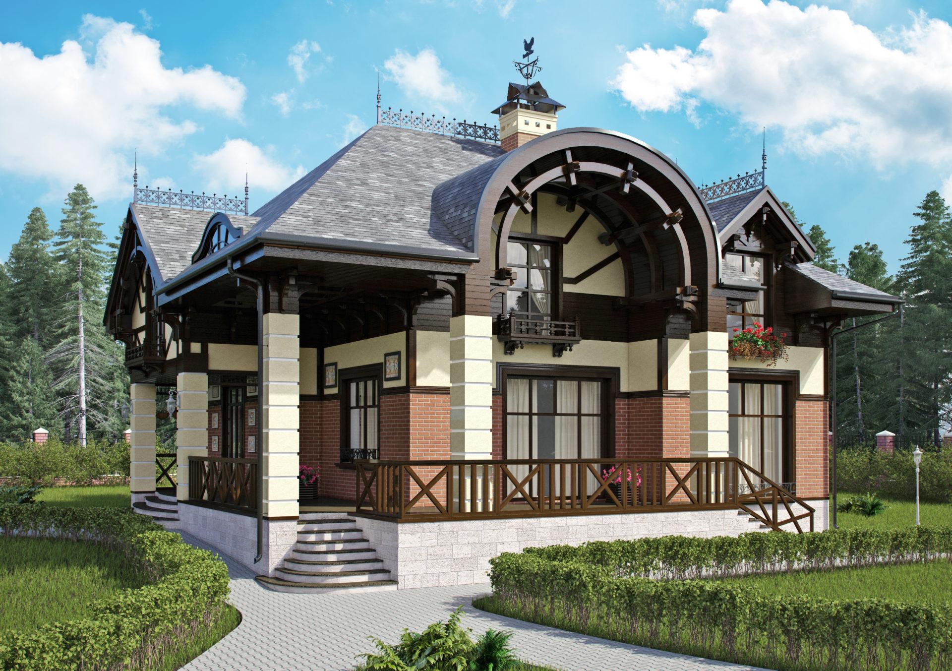 Архитектурный проект дома в французском стиле.